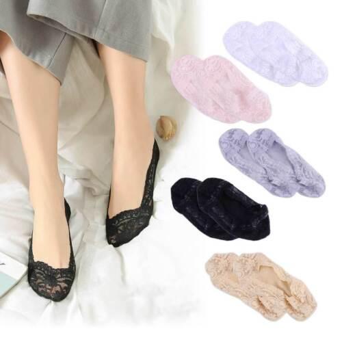 5prs Antiskid Silicone Lace Cotton Boat Socks Femme chaussettes de bateau Cotton