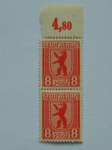 Zweierstreifen (**) BBRA 1945 8 Pf Berliner Bär m. Plattenfehler Mi 3A XI
