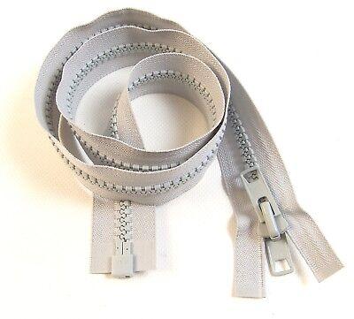 "#10 Zipper Separating White 48/"" Inch Double Metal Tab Slider YKK Vislon"