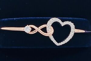 New-SWAROVSKI-Rose-Gold-Sparkle-Crystals-Infinity-Heart-Bangle-Bracelet-5518869