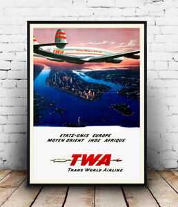 TWA-Manhattan-Vintage-Airline-advert-poster-Reproduction-poster-Wall-art