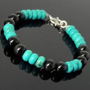 Men-039-s-Women-Bracelet-8mm-Black-Obsidian-Turquoise-Sterling-Silver-DIY-KAREN-449