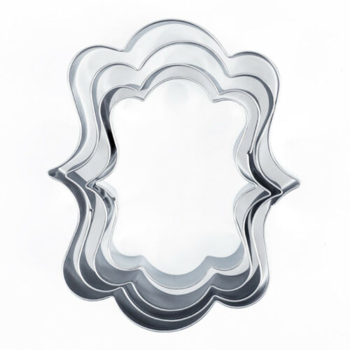4PCS en acier inoxydable Cookie Cutter Moule fantaisie plaque cadre Fondant Gâteau Moule