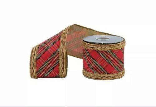 """Katherine/'s Collection Red Plaid Gold Trim 4/"""" x 5 Yd Ribbon NEW 05-905493"""
