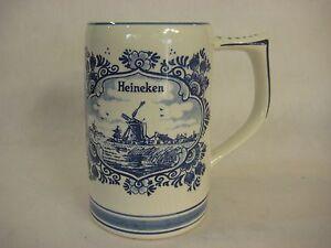 Delft-Blue-Hand-Painted-Heineken-Beer-Stein-Made-In-Holland-5-1-4-034-T-X-5-034-W