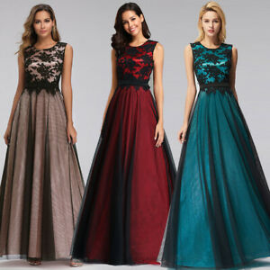 Ever-Pretty-US-Long-Mesh-Cocktail-Prom-Gown-Bridesmaid-Lace-Evening-Party-Dress