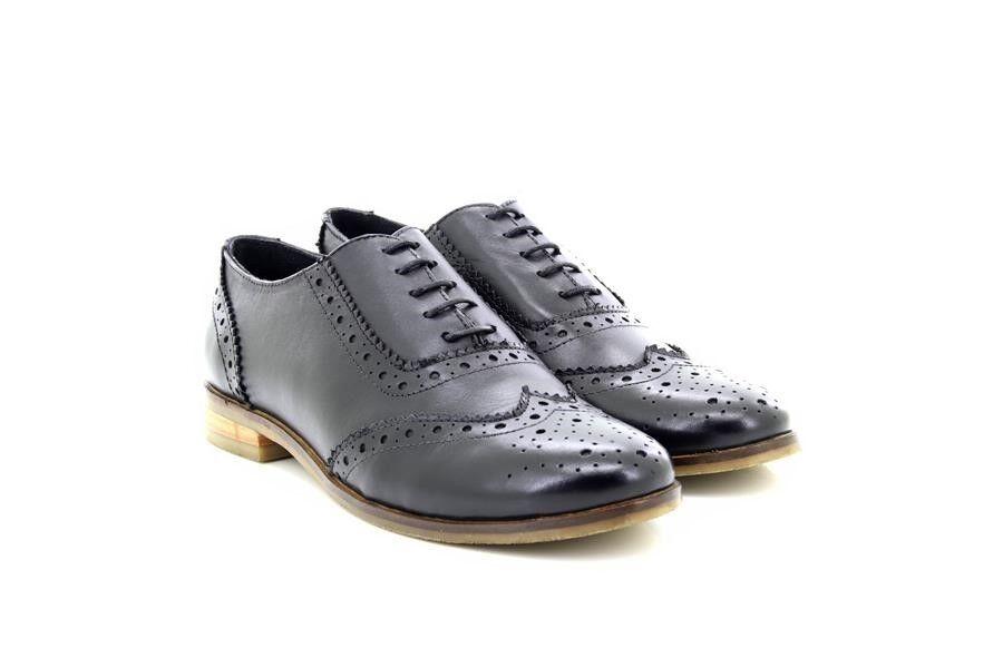 Cipriata L324A Ladies Black Leather Lace Up Brogue Smart shoes