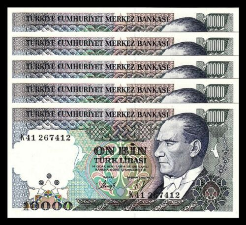 5 Pcs Lot Turkey 10000 Lira 1970 P-200 1989 Prefix K AUNC // UNC