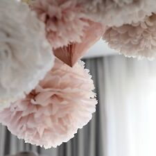 20 dusty pink handmade tissue paper pompoms set / wedding party pom poms