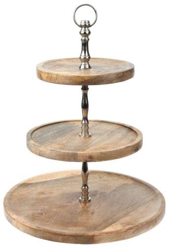 Etagere Servier-Ständer Anrichte Servier-Platte Obstschale Deko Holz Variation