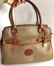 Vintage Dooney & Bourke Buckle Satchel Shoulder Bag Purse AWL Tan Brown