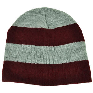 Image is loading Striped-Burgundy-Gray-Knit-Cuffless-Beanie-Blank-Toque- 3b8c84d6db2d