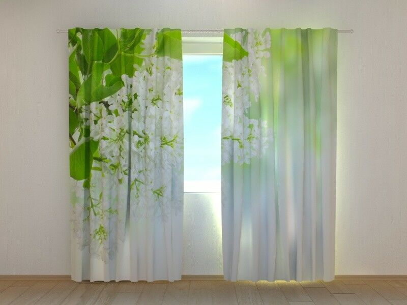 Curtain with Floral Print Weiß Lilac Wellmira Ready Made 3D Bedroom Weiß