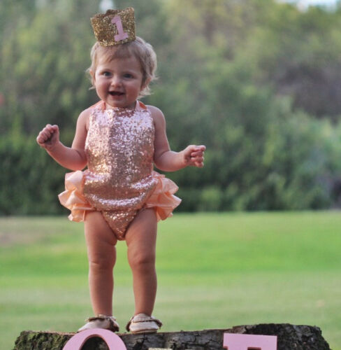 Sequin First Birthday Outfit Peach Ruffle Romper Baby Peach Sequin Romper