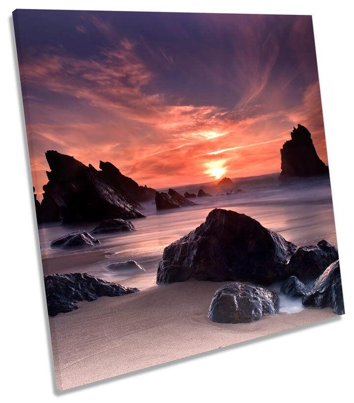 Sunset Beach Seascape Cove SQUARE BOX FRAMED CANVAS Kunst Bild