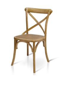 Dettagli su Sedia Cross Bistrot shabby vintage legno Olmo seduta rivestita Rattan naturale