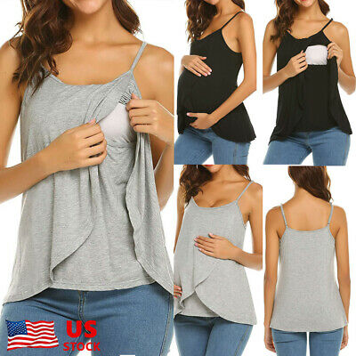 UK Women/'s Vest Cami Maternity Breastfeeding Nursing Tank Tops Strappy T Shirt