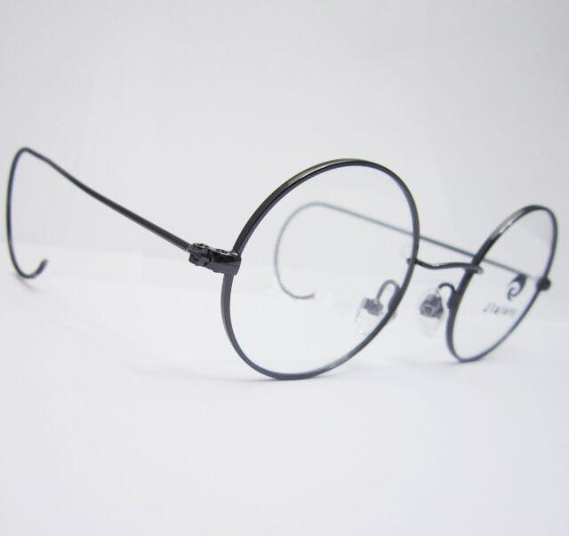 40mm Small Round Antique Vintage Grey Gun Wire Rim Eyeglass Frame ...