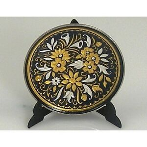 Damascene-Gold-Silver-Flower-Design-Decorative-Mini-Plate-by-Midas-Toledo-Spain