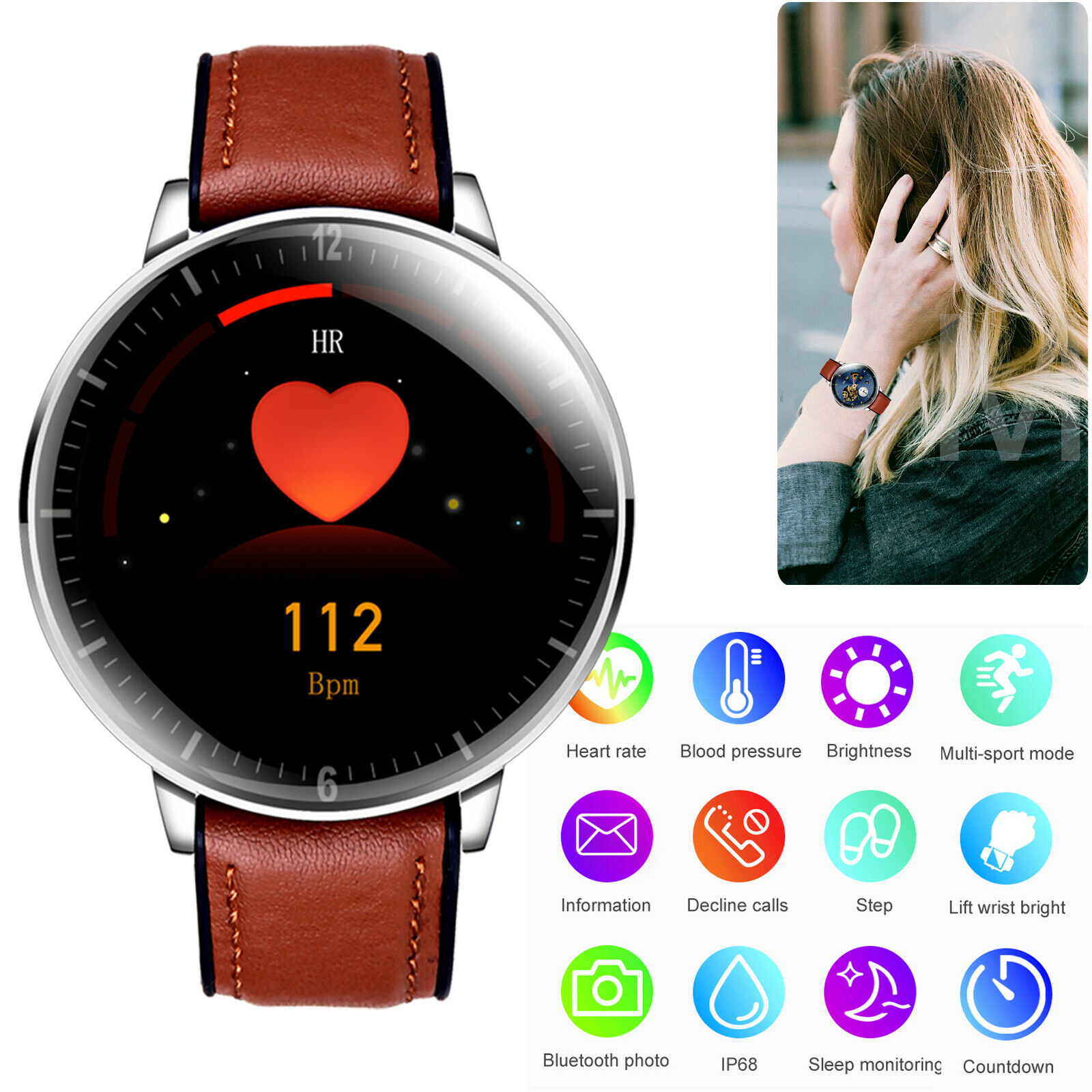 Bluetooth Smartwatch Fitness Activity Tracker Heart Rate Blood Pressure Bracelet