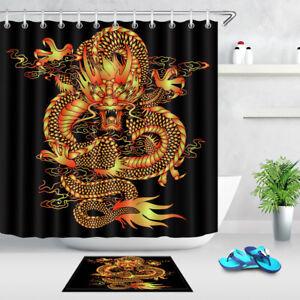 Traditional chinese Dragon Shower Curtain Bathroom Waterproof Fabric /& 12hooks