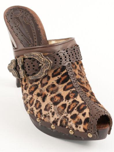 New Gianmarco Lorenzi Brown Pony Haip Leather Mules Size 39 US 9