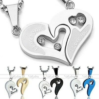Pair Crystal Jigsaw Heart Pendant Stainless Steel Necklace For Couple Lover Gift