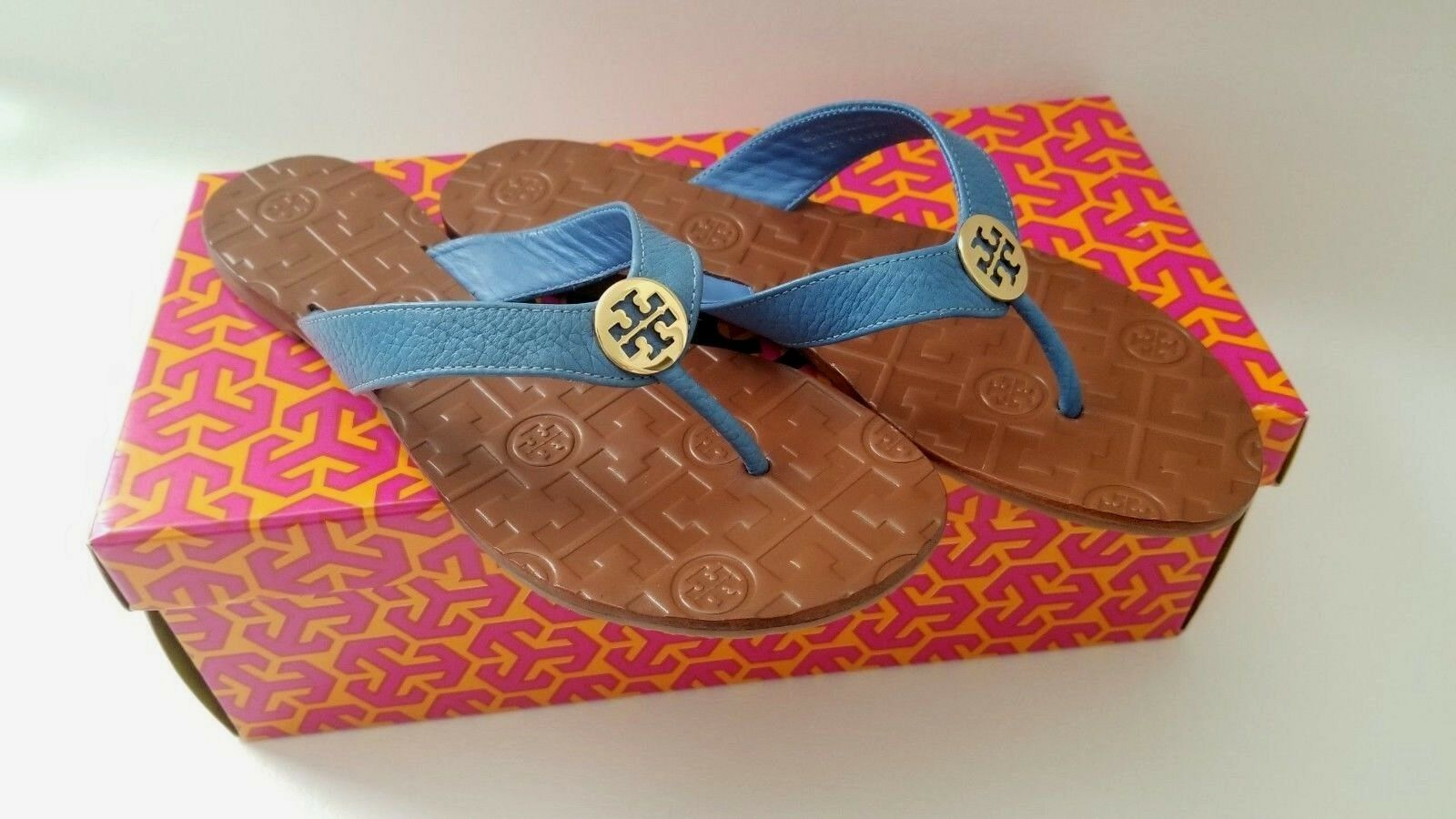 NEW in BOX Tory Burch Leather Thora Flat Thong Sandals Sandals Sandals gold bluee summer US 6 28605e