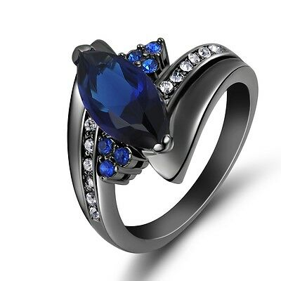 Women's Halo Wedding Ring Size 6,7,8,9 Blue Sapphire Black 10KT Gold Filled Gift