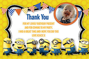 Personalised Despicable Me Minion Photo Birthday Thank You Cards