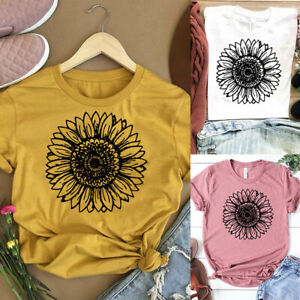 Women T-shirt Casual Summer Short Sleeve Tee Sunflower Print Loose Fit Blouse Tops S, White 3