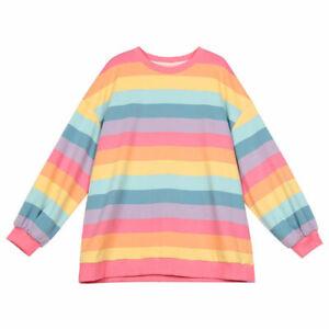 Autumn Women Harajuku Rainbow Stripe T-shirt Cotton Loose Long Sleeve Top