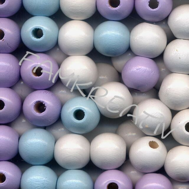 12mm Deutsche Holzperlen Mix  hellblau flieder weiß
