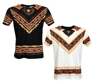 874d49c2e5 Details about Time Is Money Mens Baroque Print Short Sleeve Tee Shirts  Casual T-shirt Top Tee
