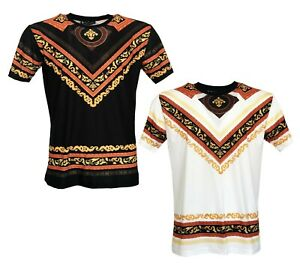 Temps-Est-Argent-Homme-Baroque-Imprime-a-manches-courtes-tee-shirts-Casual-T-Shirt-Top-Tee