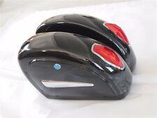 Black Hard Saddle Bag Saddlebags Trunk W/ Light&Brackets For Yamaha Cruiser LN