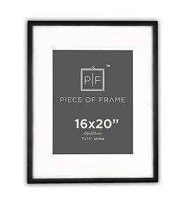 16x20 Black Photo Frame With Mat For 11x14 Pictures