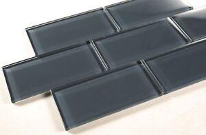 Dark Slate 3x6 Grey Color Glass Tile Bathroom Tile