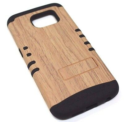for Samsung Galaxy S6 Light Brown Wood Design Hard & Soft Hybrid Koolkase Case