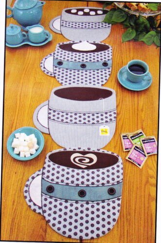 fun coffee cup table runner or place mat PATTERN PATTERN Fill /'Er Up!