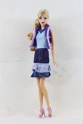 3 Pcs Set Fashion Outfit Top+skirt+denim skirt for 11.5 in Doll #07