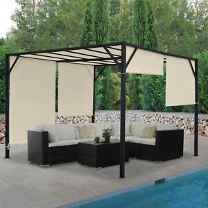 Détails sur Pergola Baia, pavillon de jardin, 6cm-Acier-Châssis + toit  ouvrant 3x3m 4x3m 4x4m- afficher le titre d\'origine