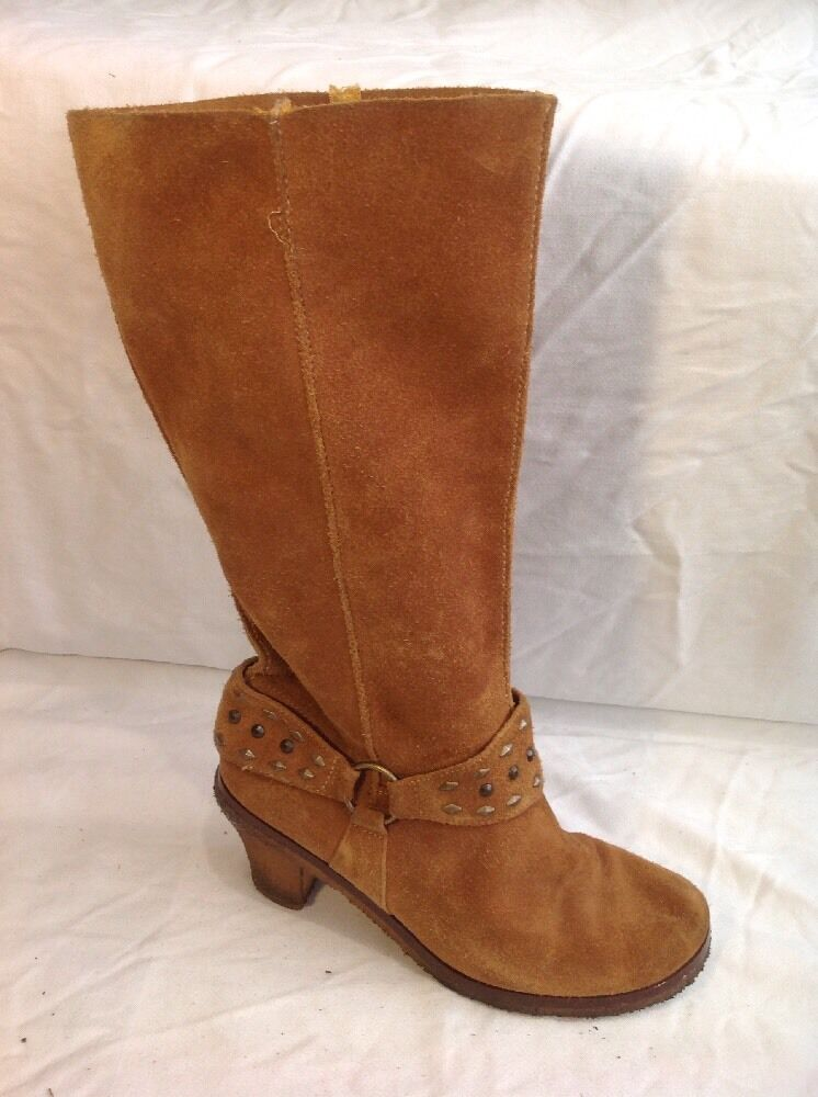 Fiore Leather Brown Mid Calf Suede Boots Size 6