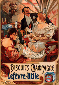 """AV19 Art Deco Alphonse Mucha Biscuits Champagne Advertisment Poster A3 17/""""x12/"""""""