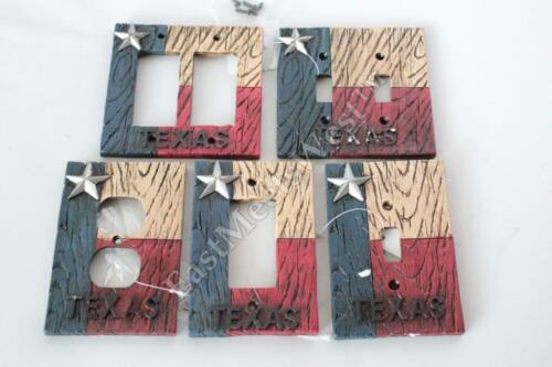 Texas Flag Star Switch Plate Covers Electric Outlet Rustic Wood Look Decoration