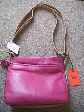 Ladies Gigi Raspberry Pink & Beige Soft Leather Bag BNWT