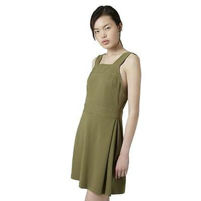 Ex Topshop Khaki Thick Strap Square Neck Skater Dress Size 6-16