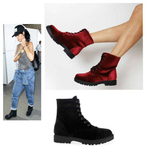 Womens Ladies Lace up Velvet Goth Punk Retro Combat Ankle Boots Shoes Size 3-8