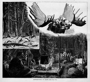 MOOSE HUNT IN MAINE HUNTERS SIT BY CAMPFIRE HUNTING SHACK SNOWSHOES BULL MOOSE