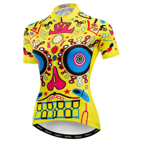 Pink Women/'s Cycling Jersey Skull Bike T-Shirt Short Sleeve Clothing Bicycle Top